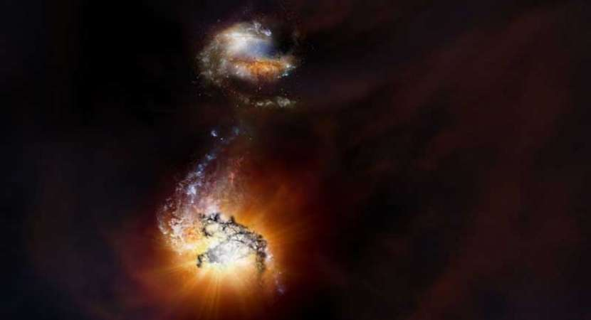 SPOTTED: Two rare hyper-luminous starburst galaxies ADFS-27 merging in outer space