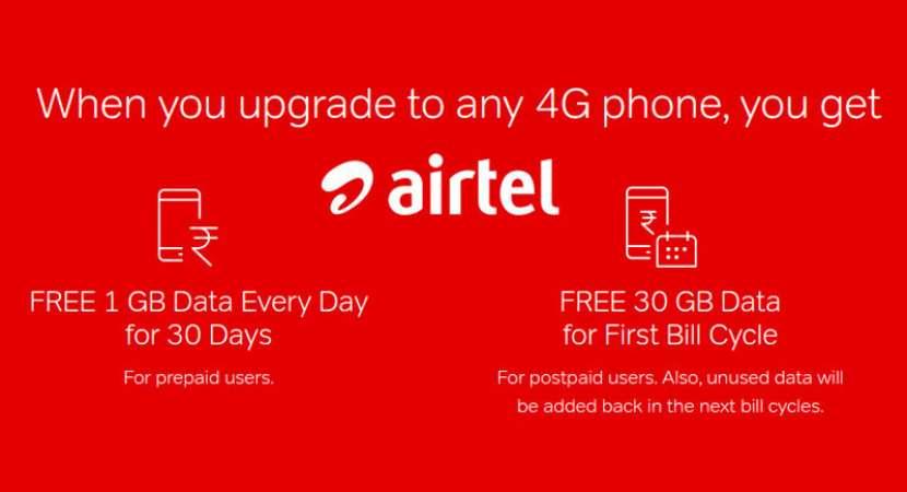 Airtel offers 30 GB free data on 4G smartphone upgrade