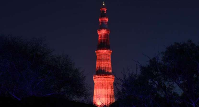 Qutub Minar lighted in red to raise awareness about Hemophilia disease