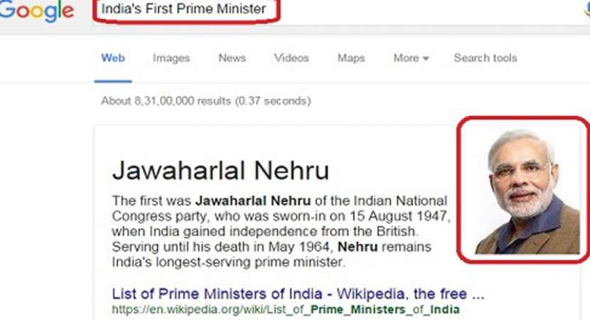 Tech blunder: Google India replaces Jawaharlal Nehru with Narendra Modi's as first Prime Minister of India