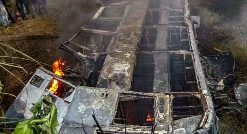 Delhi-bound bus topples, catches fire in Bihar's Motihari