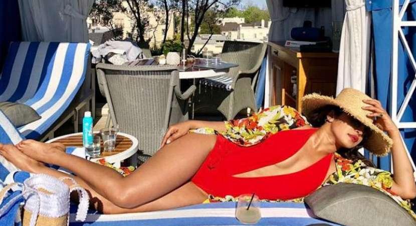 Red hot Priyanka Chopra burns up the beach in monokini