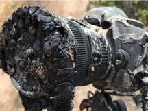 The burnt area of a camera after shooting a SpaceX Falcon 9 rocket launch