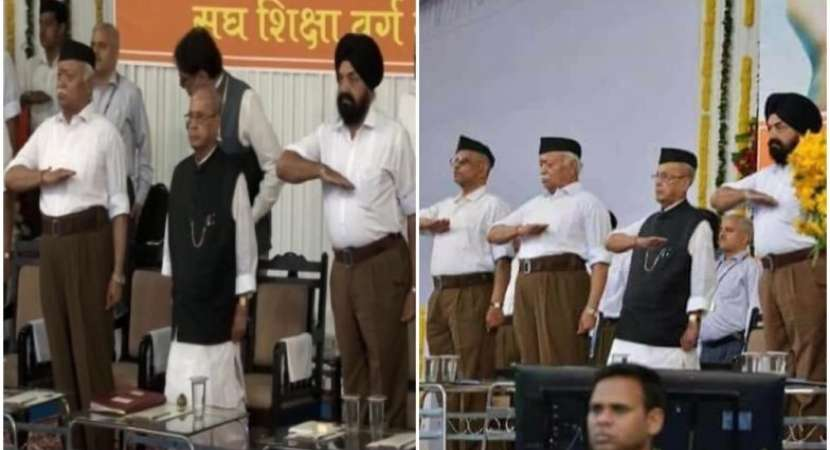Fake photo shows Pranab Mukherjee doing RSS salutation; Congress, RSS trade charges