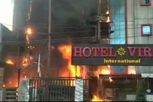 Five dead as blaze guts two Lucknow hotels, owners booked