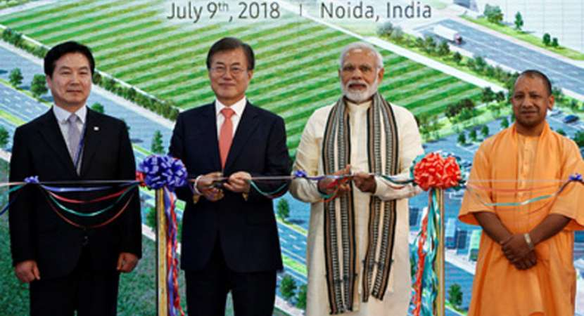 Prime Minister Narendra Modi along with South Korean President Moon Jae-in travelled to Noida in Metro to inaugurate the world's largest mobile factory