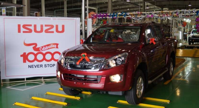 Isuzu Motors India Private Ltd, a subsidiary of Japan's Isuzu Motors Ltd, rolled out the 10,000th vehicle from its Sri City plant located in Andhra Pradesh.