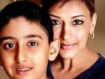 Bollywood Actor Sonali Bendre with son Ranveer