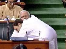Lok Sabha no confidence motion debate: Rahul Gandhi surprises PM Modi with a hug