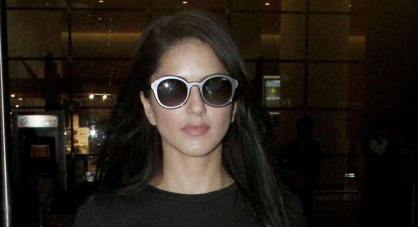 Sunny Leone at an airport